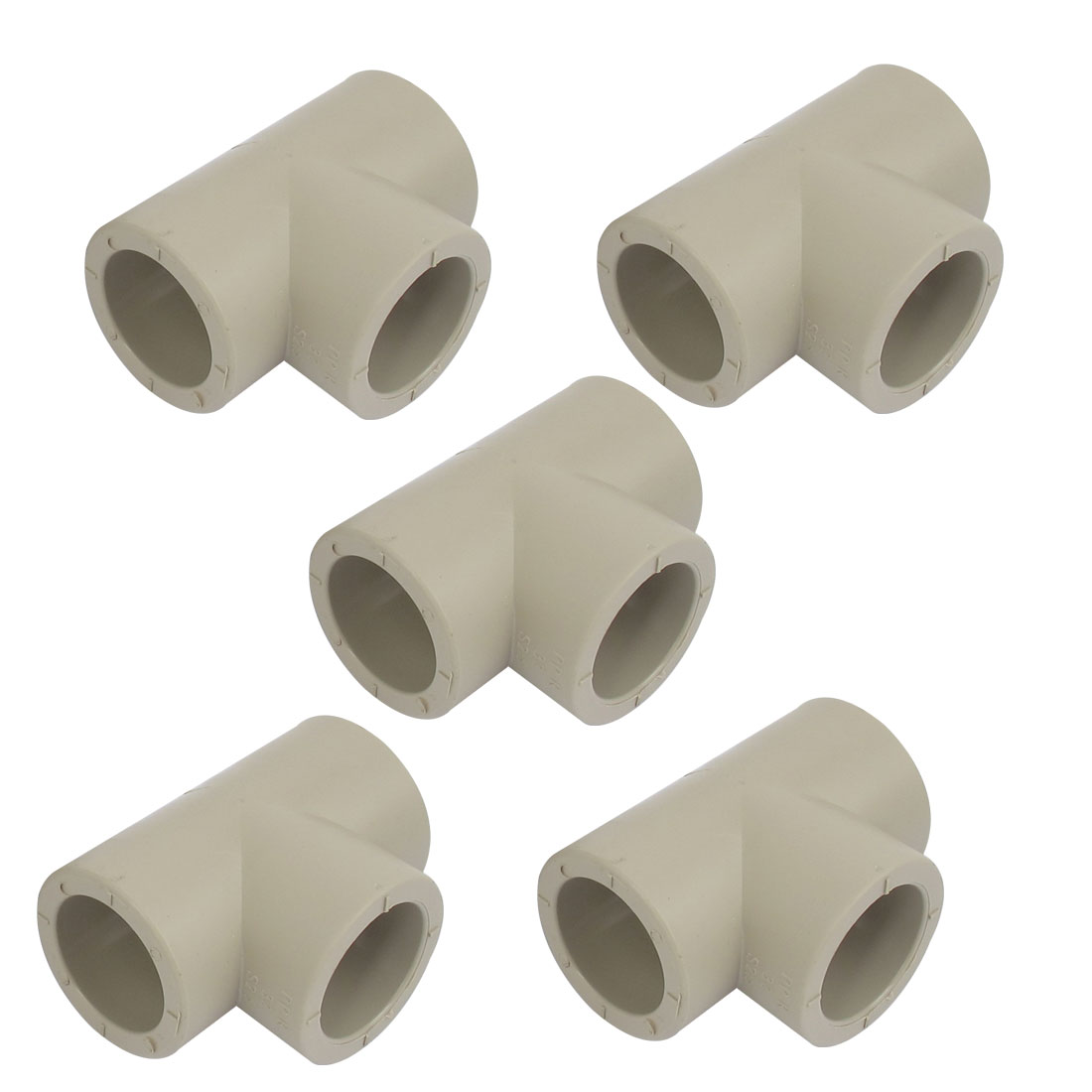 Three Way PPR Pipe Fitting Tee Connector Adapter Gray 32mm 5 Pcs