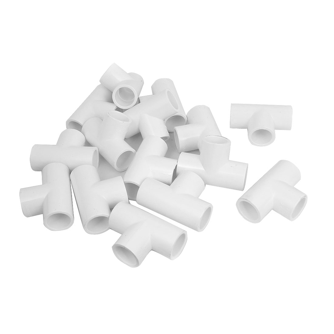 Three Way PPR Pipe Fitting Tee Connector Adapter White 20mm 15 Pcs