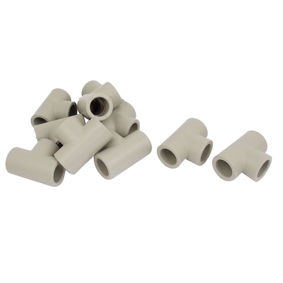 Three Way PPR Pipe Fitting Tee Connector Adapter Gray 20mm 10 Pcs