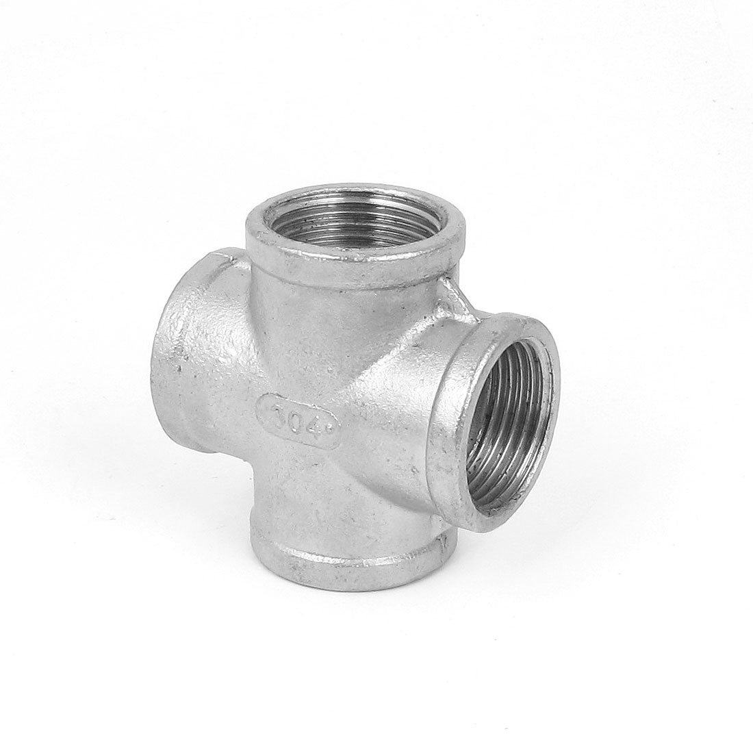 1BSP Female Threaded 4 Ways Cross Coupler Adapter Pipe Fitting Silver Tone