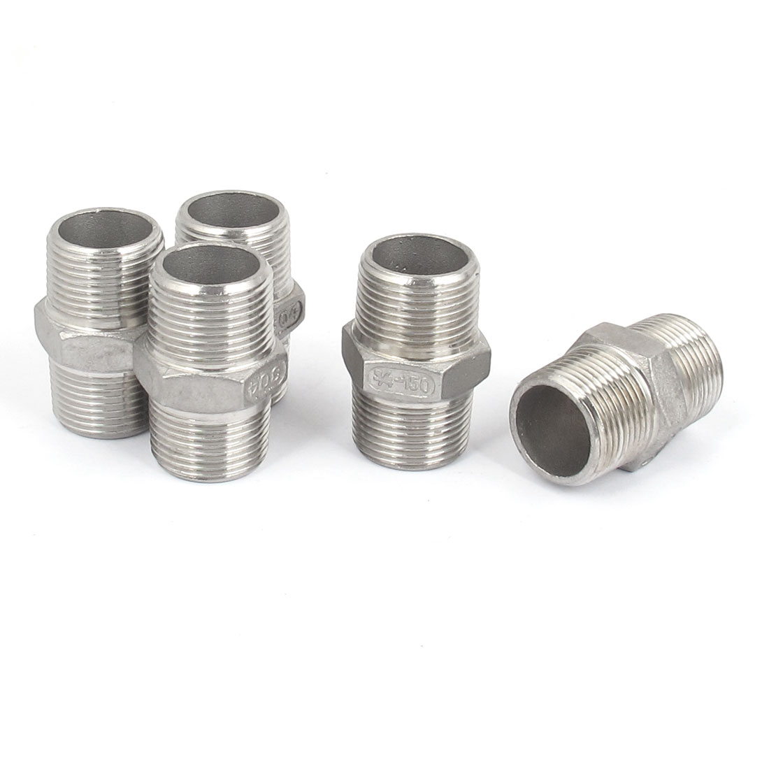 3/4 BSP to 3/4 BSP Male Thread Hex Nipple Quick Coupler Silver Tone 5 Pcs