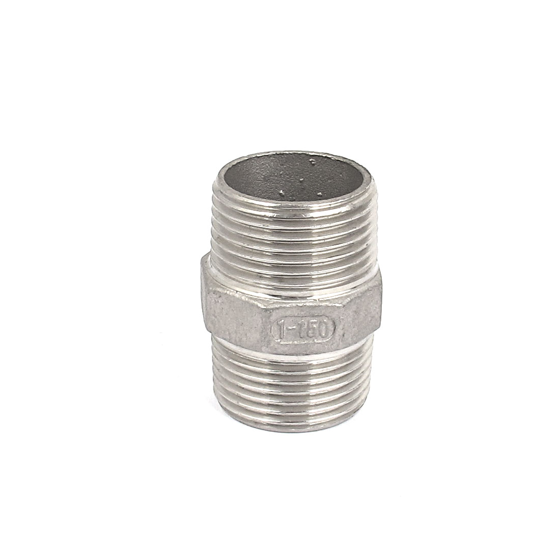 1 BSP to 1 BSP Male Thread Hex Nipple Quick Coupler Silver Tone