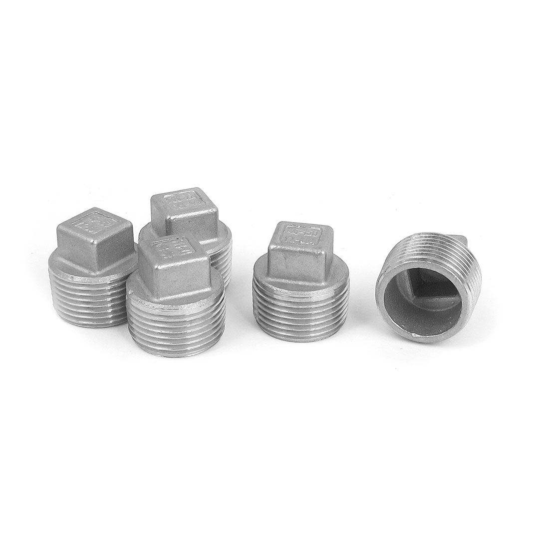 3/4 BSP Male Thread 304 Stainless Steel Square Head Pipe Fitting Plug 5 Pcs