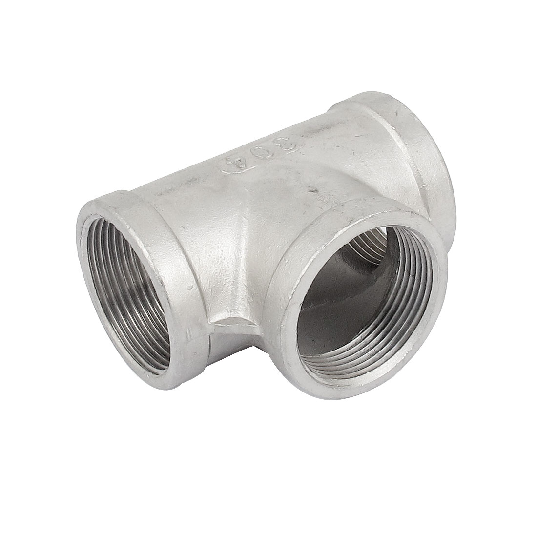 1 1/2 BSP 3 Way 304 Stainless Steel Pipe Fitting Threaded Biodiesel Gray