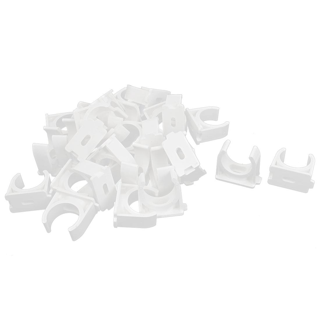 PVC Multi Function Pipe Clamps Clips Preloaded Nail White 25mm Diameter 30 Pcs