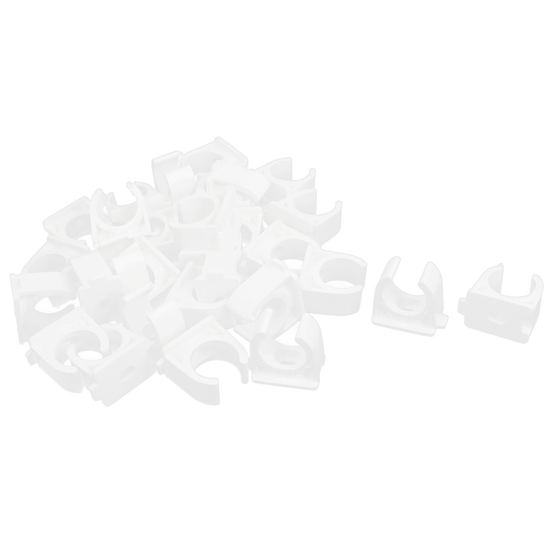 PVC Multi Function Pipe Clamps Clips Preloaded Nail White 20mm Diameter 30Pcs