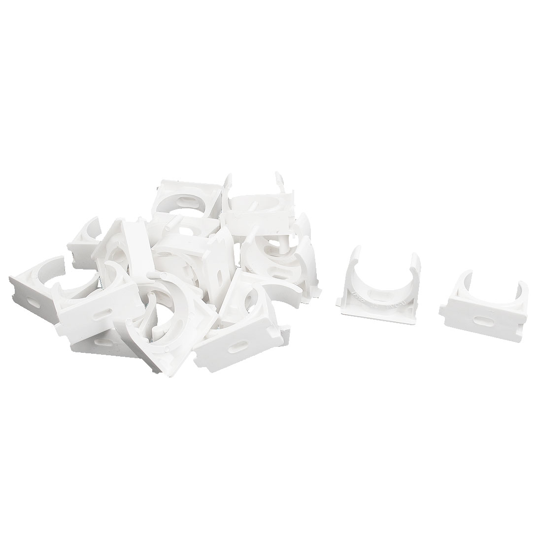 PVC Multi Function Pipe Clamps Clips Preloaded Nail White 32mm Diameter 21 Pcs