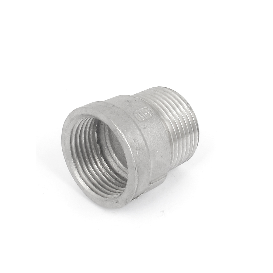 33mm Male to 29mm Female Hex Head Bushing Straight Connector Silver Tone