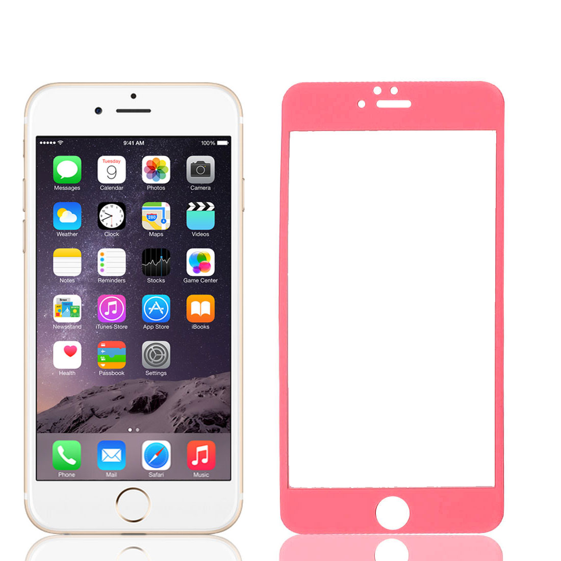 Front Back Mirror Effect Tempered Glass Screen Protector Red for iPhone 6plus 5.5""