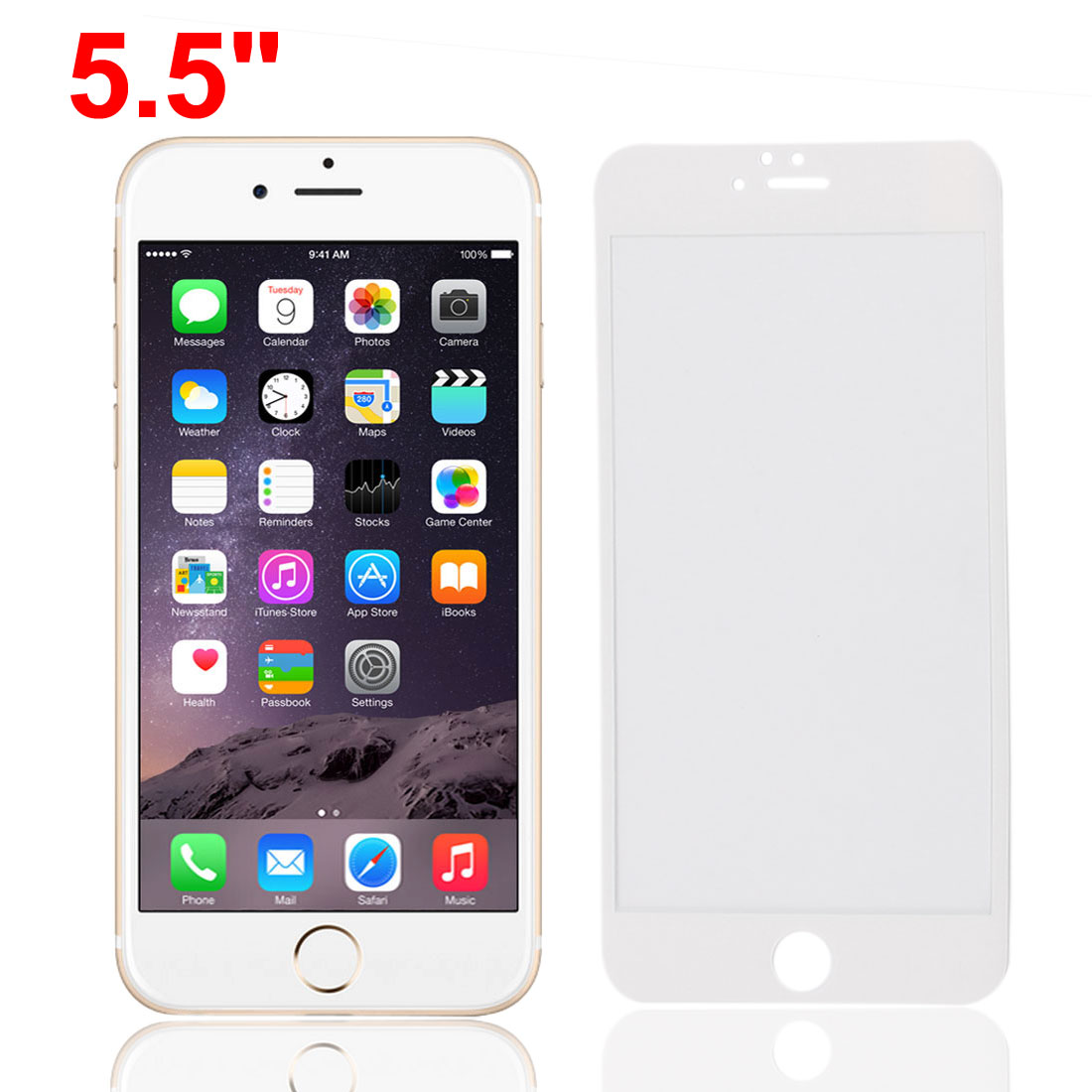 Front Back Mirror Effect Tempered Glass Screen Protector White for iPhone 6plus 5.5""