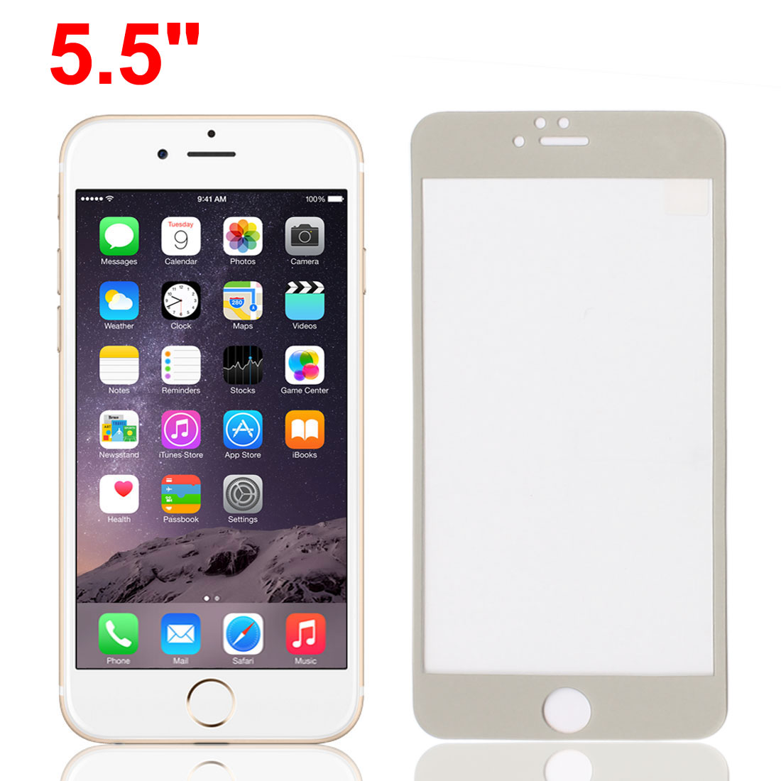 """Front Back Mirror Effect Tempered Glass Screen Protector Silver Gray for iPhone 6plus 5.5"""""""