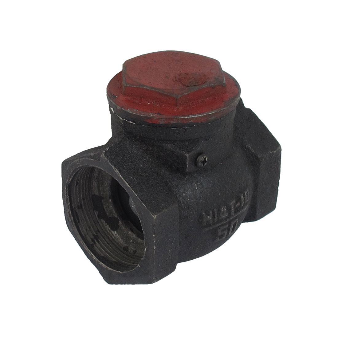 2BSP Female Thread Dia One Way Horizontal Type Water Pipe Hose Check Valve Fitting Black
