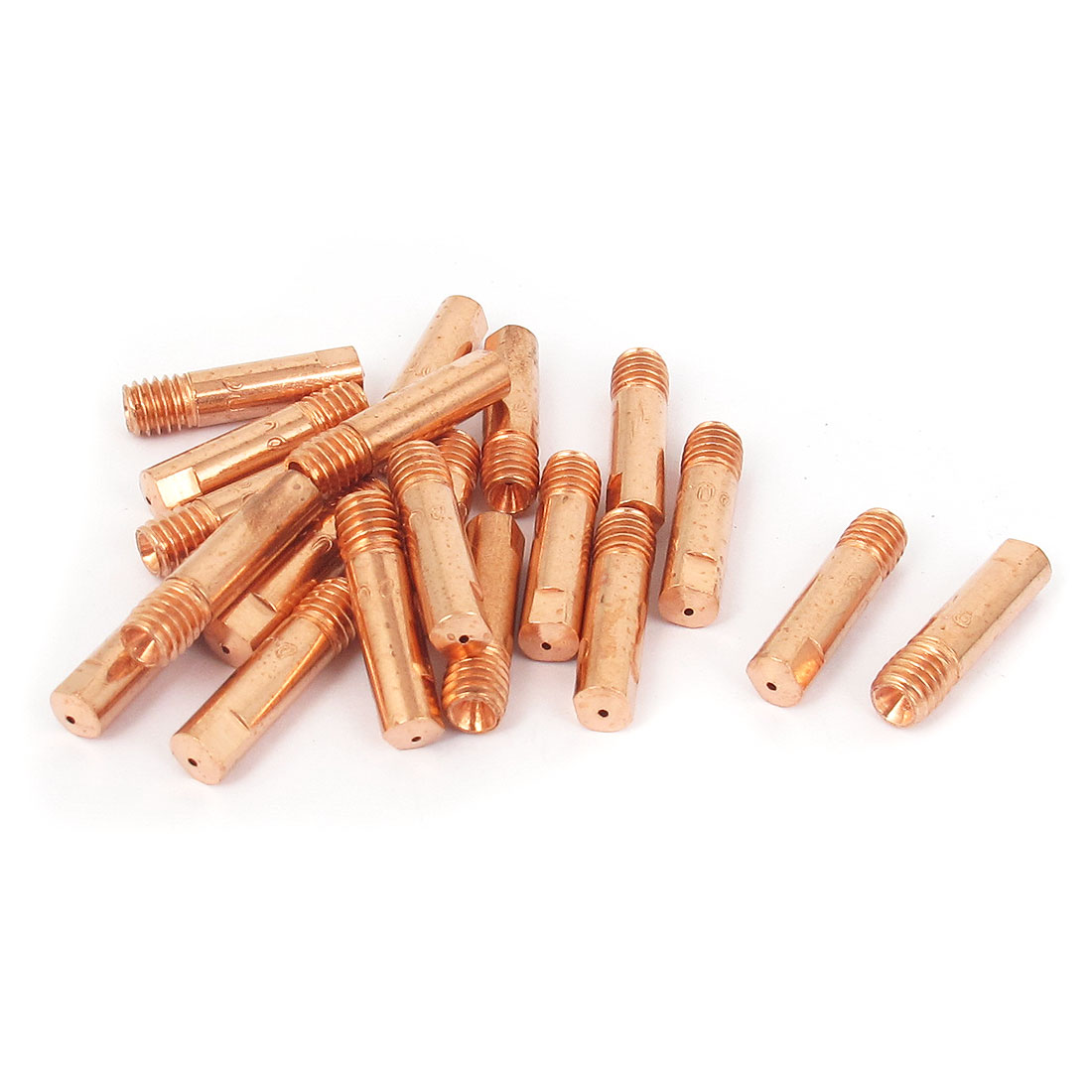 CO2 Welding Solder Torch 0.8mm Nozzle Contact Tip Head Holder Copper Tone 20pcs