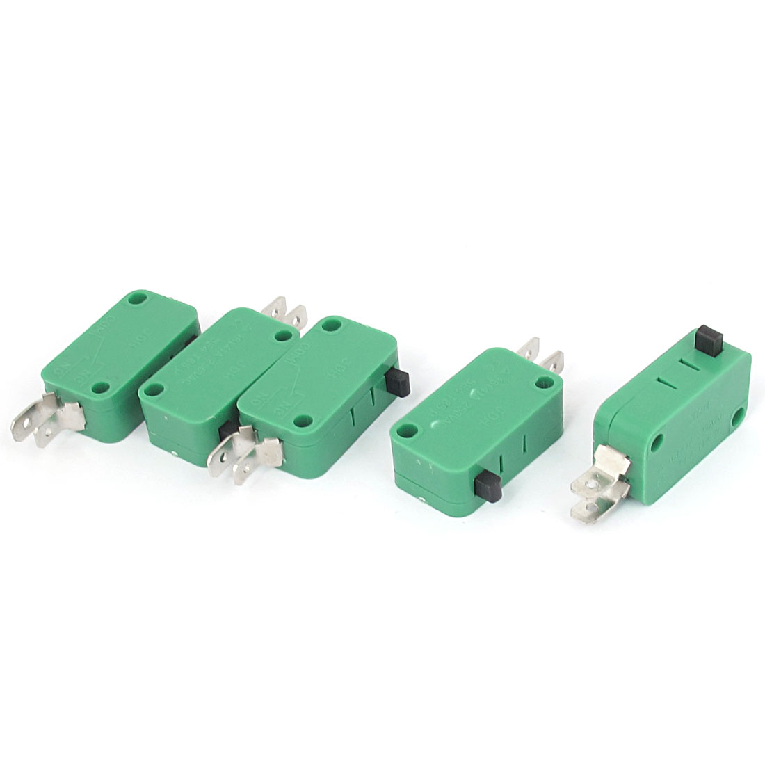AC 250V 16(4)A SPST 2 Terminals Momentary Push Button Bending Pins Micro Limit Switch Green 5pcs