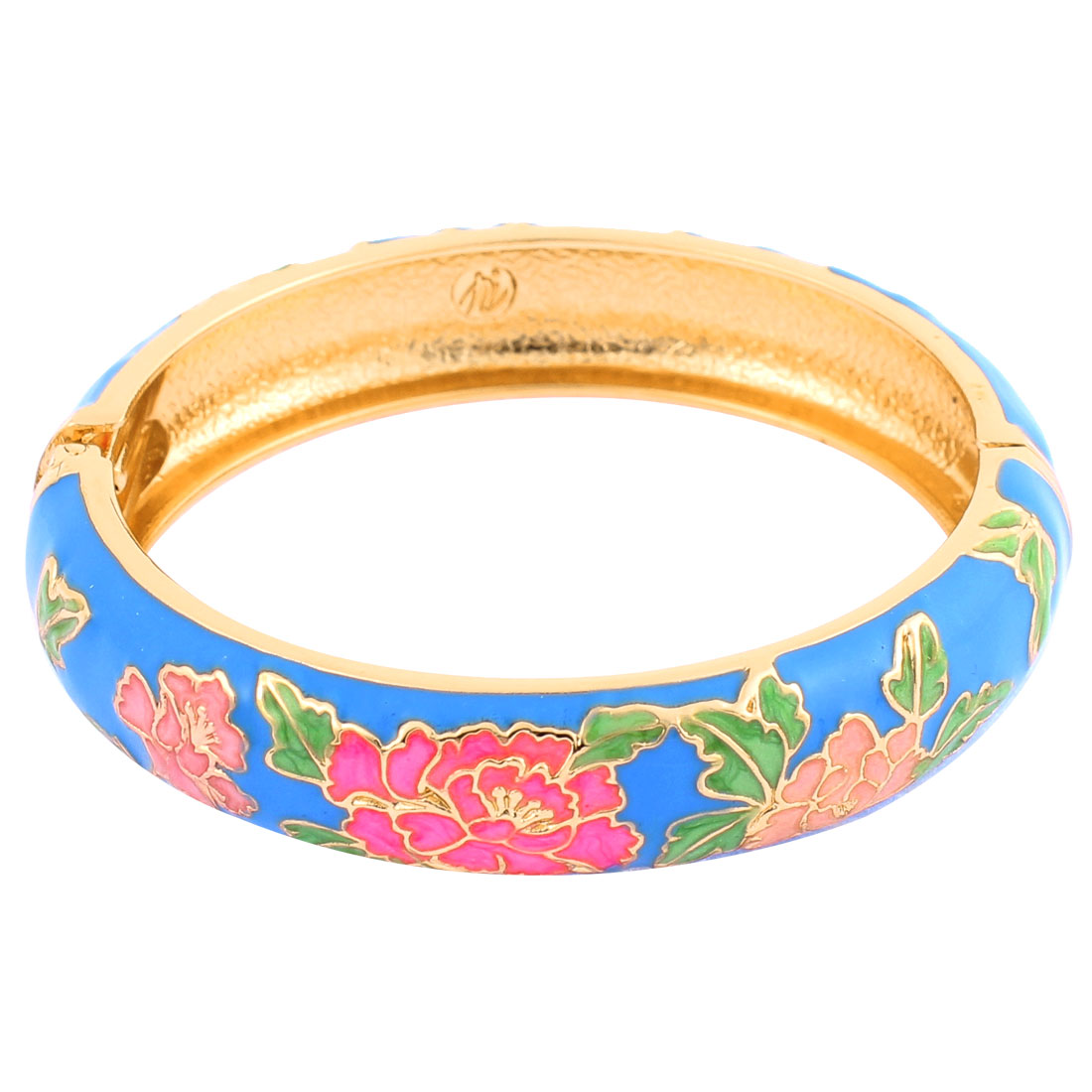 Lady Party Jewelry Hinge Wrist Decor Wide Enamel Bracelet Bangle Blue