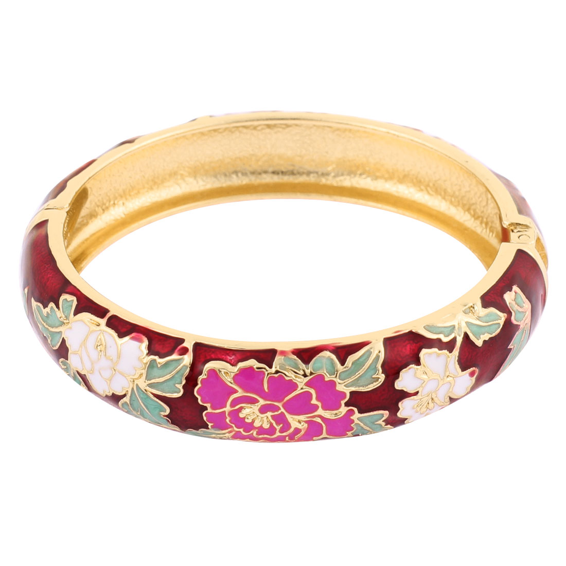 Women Flower Pattern Round Shape Hinge Enamel Bracelet Bangle Burgundy