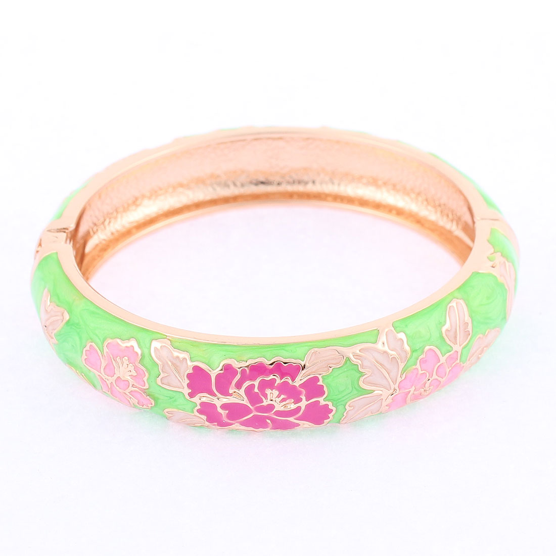Lady Wrist Wear Spring Closure Flower Enamel Round Bracelet Bangle Green
