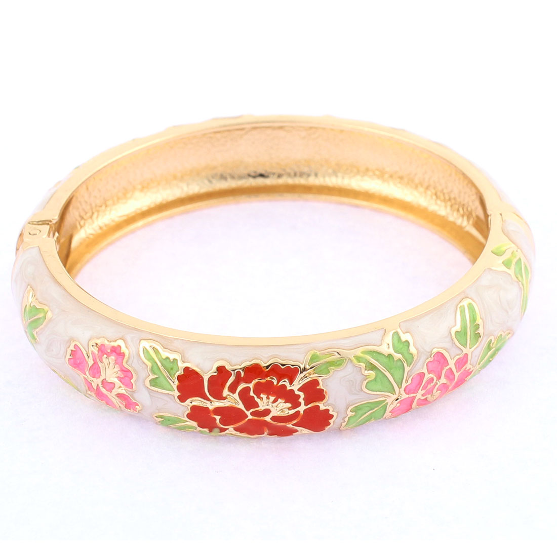 Lady Spring Closure Flower Enamel Round Bracelet Bangle Jewelry Party Gift Beige