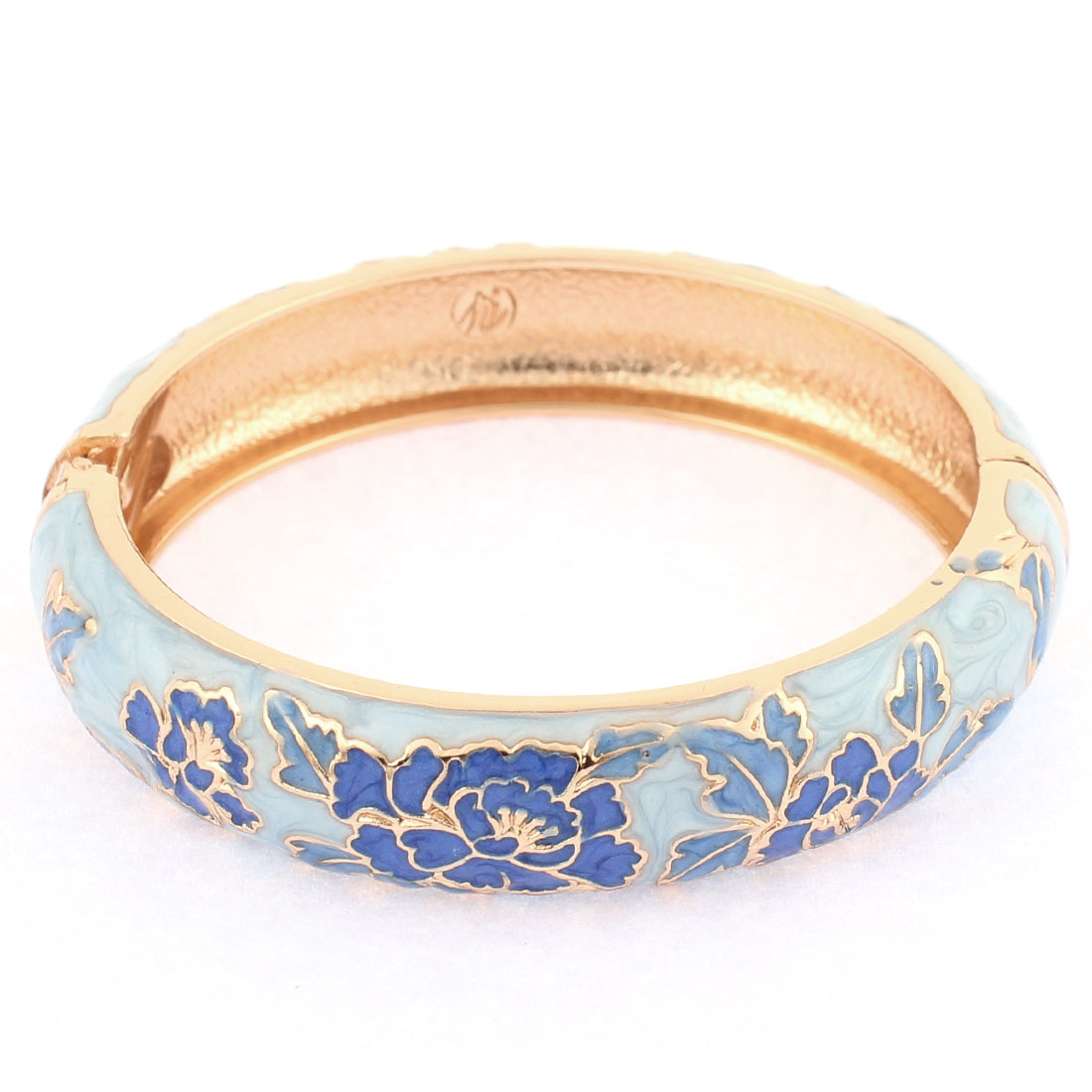 Lady Spring Closure Floral Enamel Round Metal Bracelet Bangle Wrist Decoration