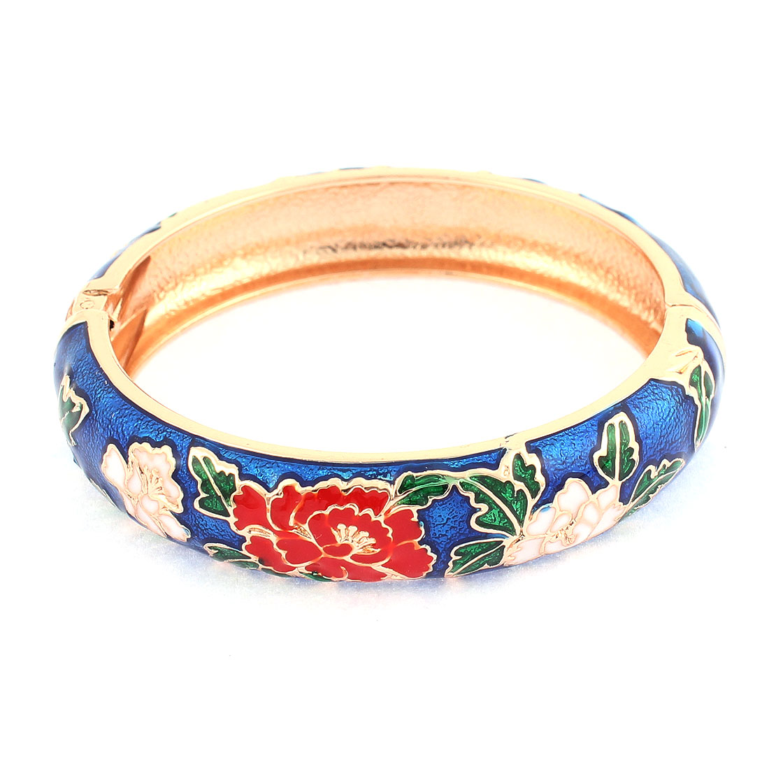 Lady Spring Closure Flower Enamel Round Bracelet Bangle Jewelry Gift Blue