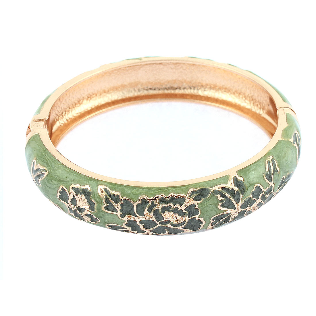 Lady Party Wear Spring Closure Flower Enamel Bracelet Bangle Craft Olive Green