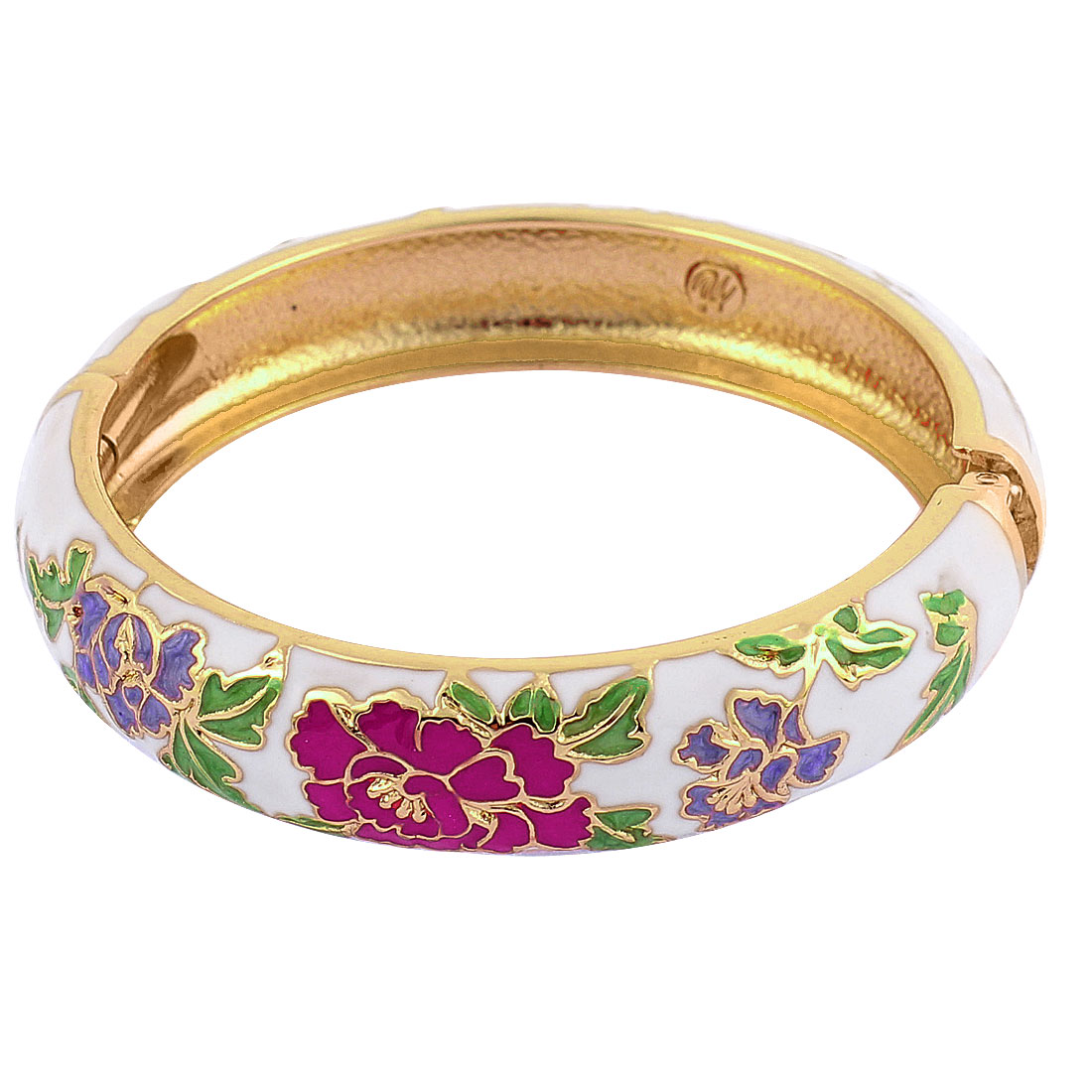 Women Flower Pattern Cuff Wrist Hinge Enamel Bracelet Bangle White