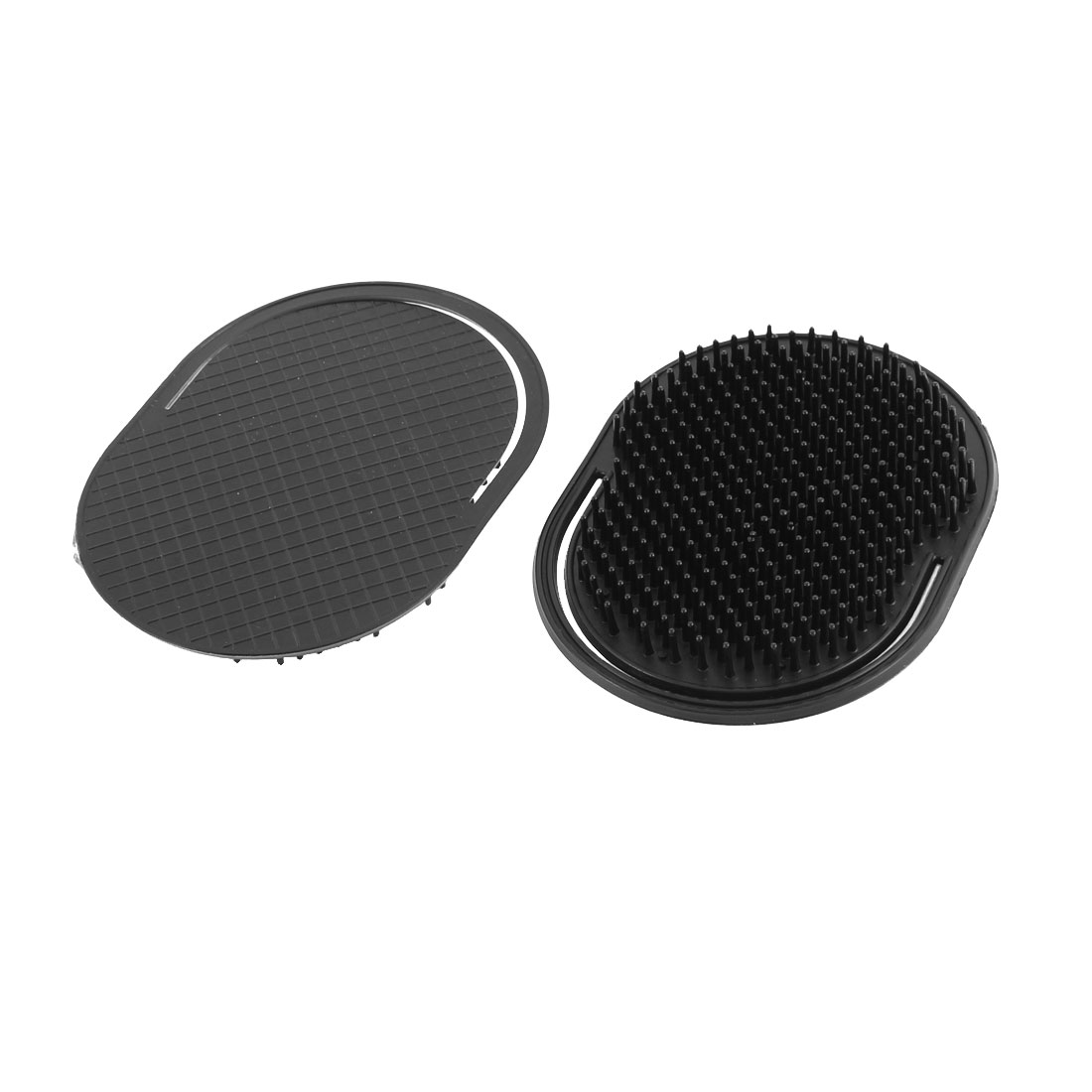 Plastic Oval Shaped Hair Palm Comb Scalp Massage Brush Black 2Pcs