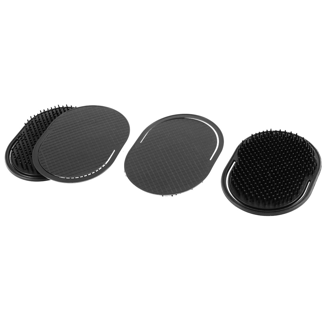 Household Travel Plastic Hair Beard Palm Scalp Massage Brush Black 4 Pcs