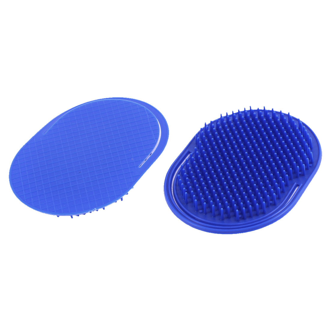 Oval Shape Hair Cleaning Scalp Massage Comb Shampoo Brush Dark Blue 2 Pcs