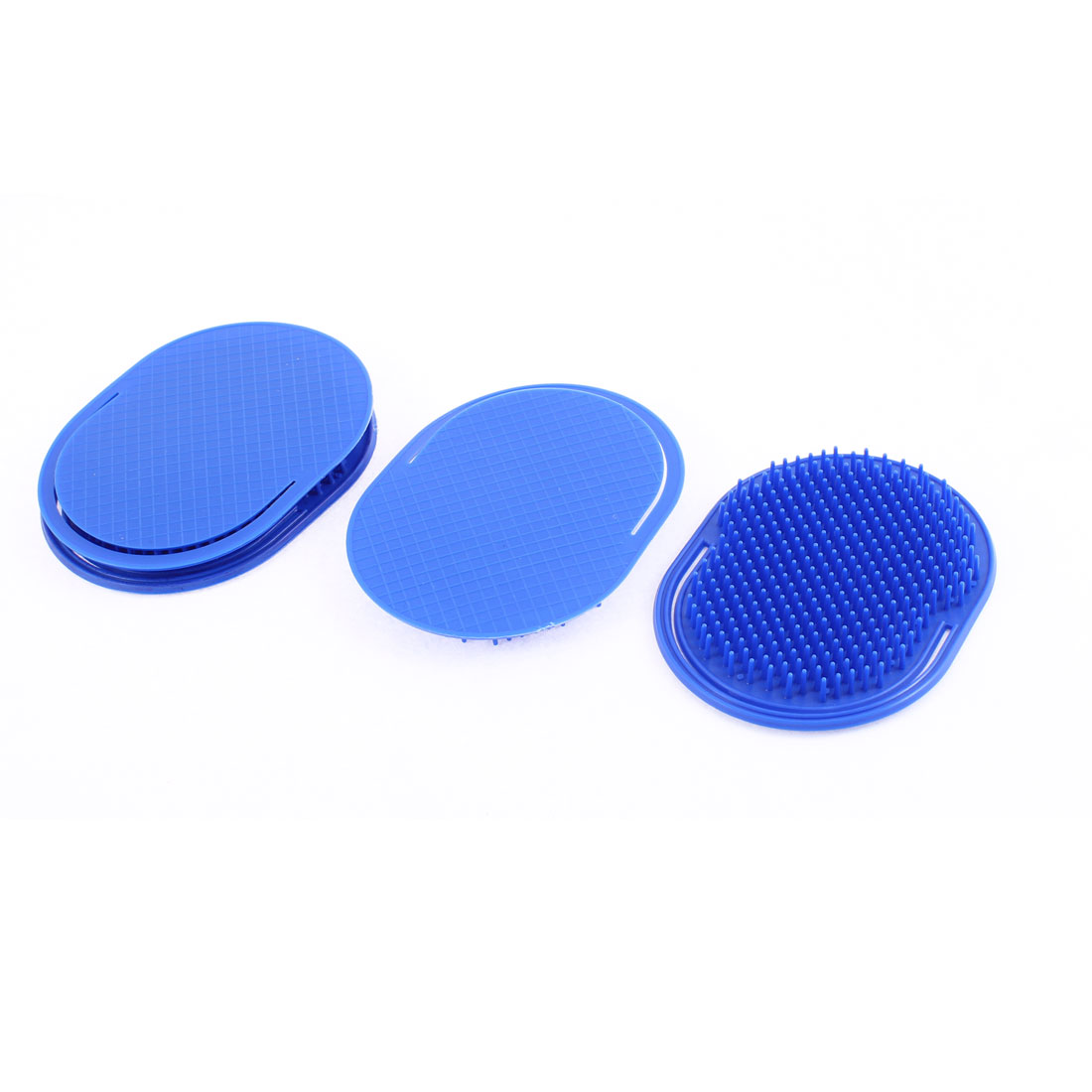 Travel Hair Shampoo Comb Palm Scalp Massage Brush Dark Blue 4Pcs