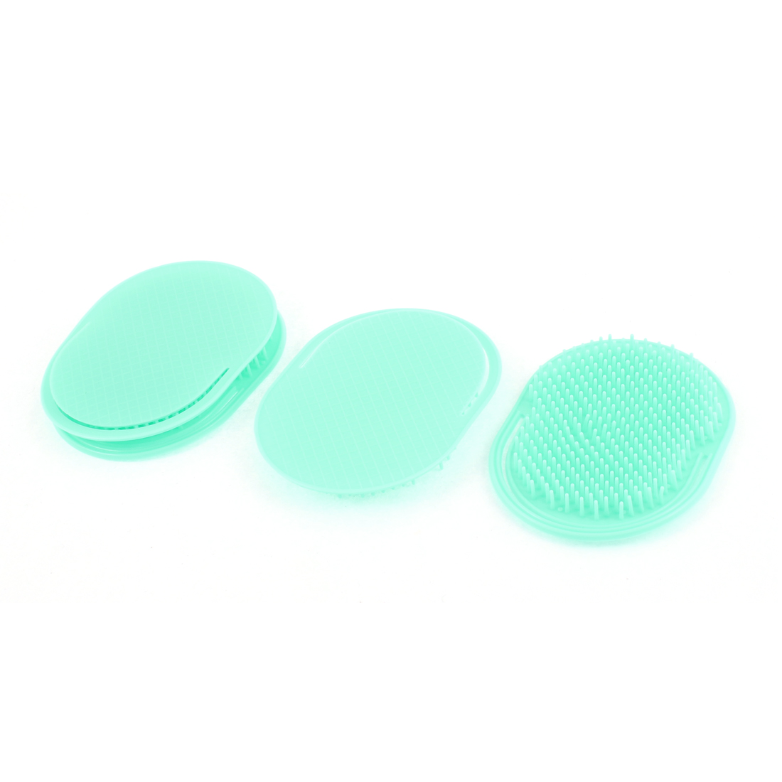Travel Plastic Hair Comb Palm Scalp Massage Brush Cyan Color 4Pcs