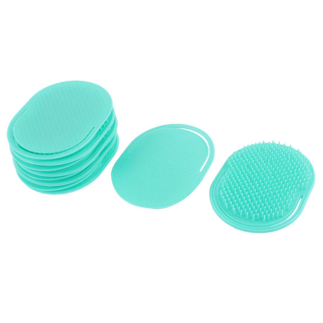 Oval Shaped Palm Comb Scalp Massage Brush Green 10Pcs