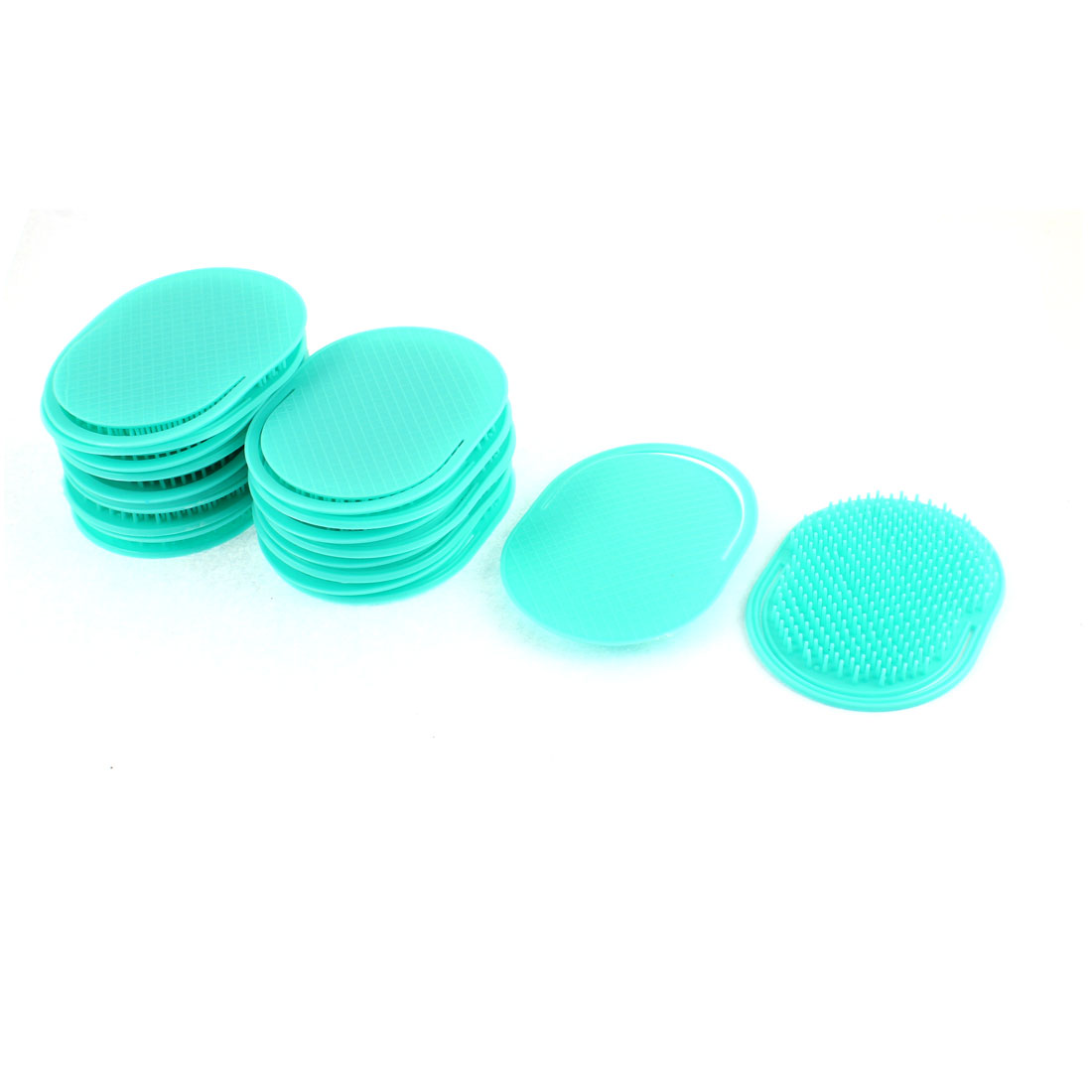 "Oval Shaped Hair Comb Scalp Massage Brush Teal Green 4"" Length 20Pcs"