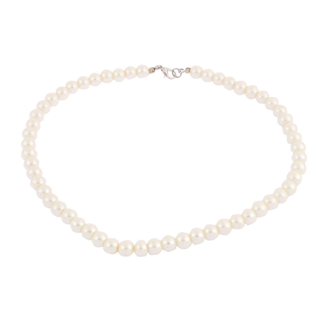 Wedding Faux Round Pearl Beaded Linked Necklace Off White 45cm Length