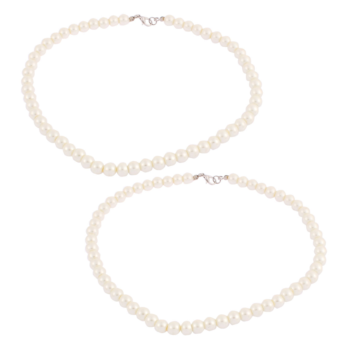 Woman Imitation Round Pearl Beaded Linked Necklace Chain Neck Decor 45cm Length 2pcs