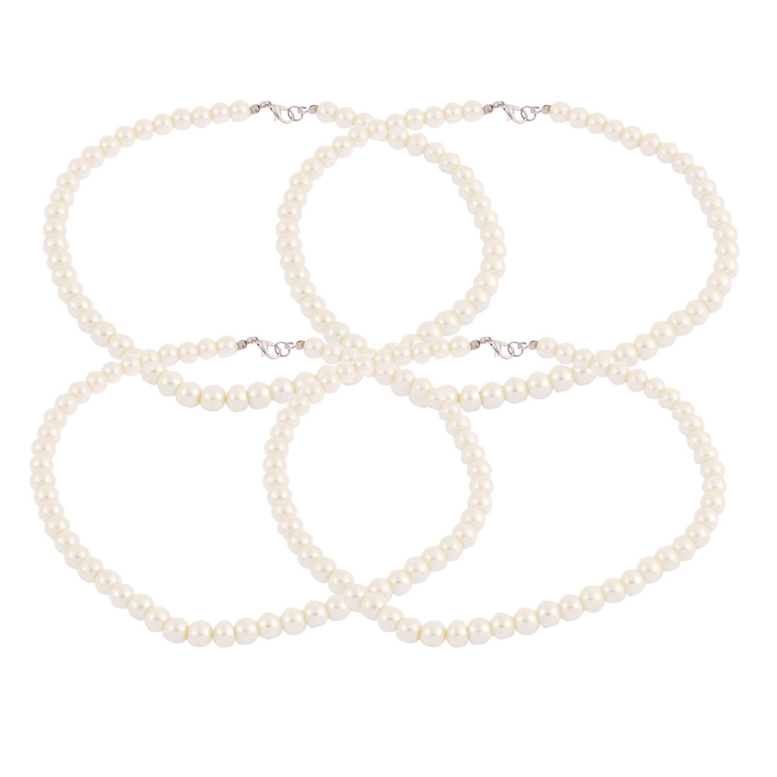 Wedding Party Lady Imitation Pearls Beaded Linked Necklace Chain Neck Decor 4pcs