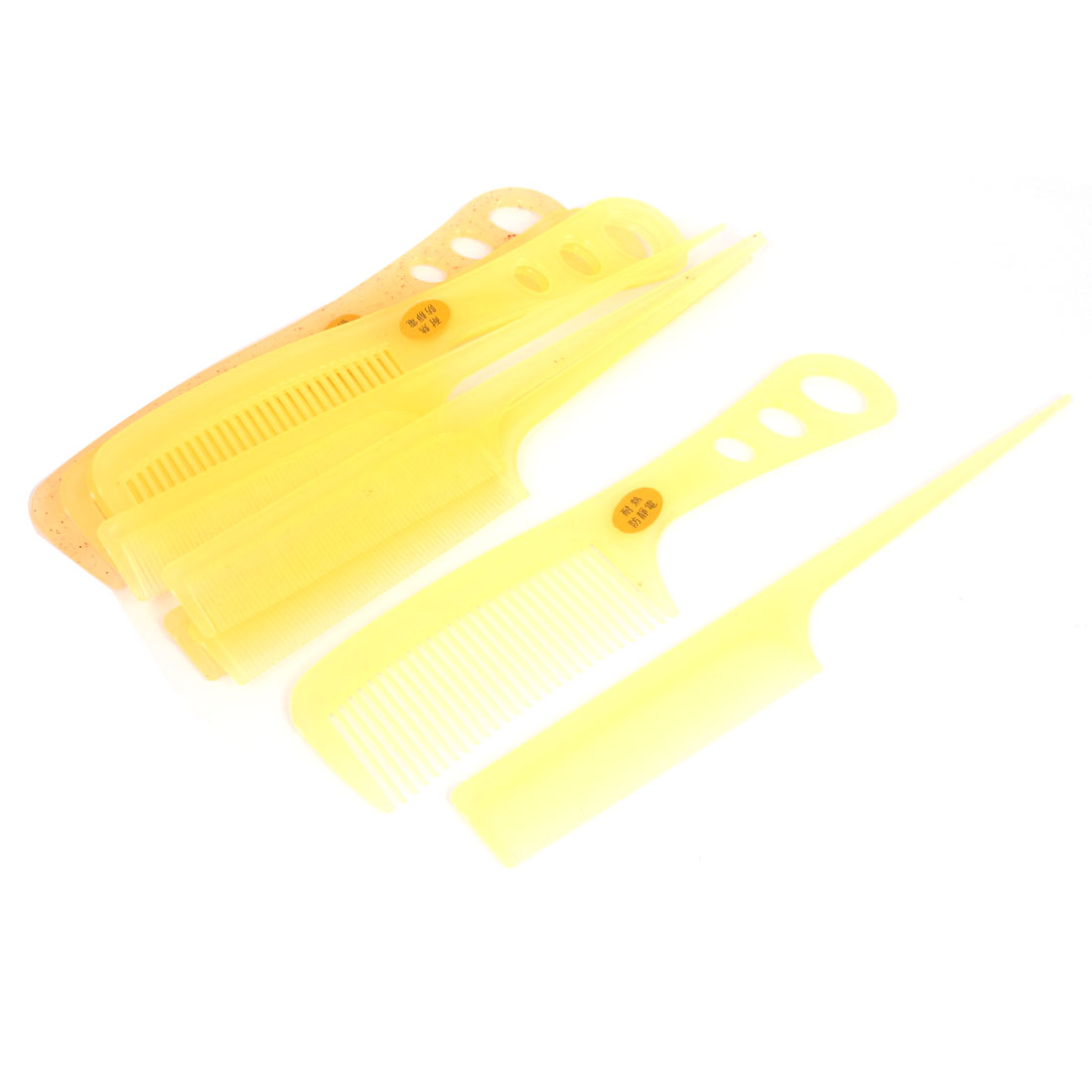 Hairdressing Plastic Anti Static Hair Styling Combs Light Yellow 10 in 1