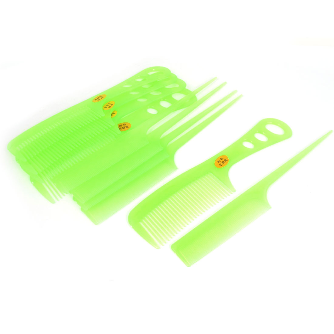 Home Salon Anti-static Tooth Combs Hair Styling Tool Light Green 10 in 1