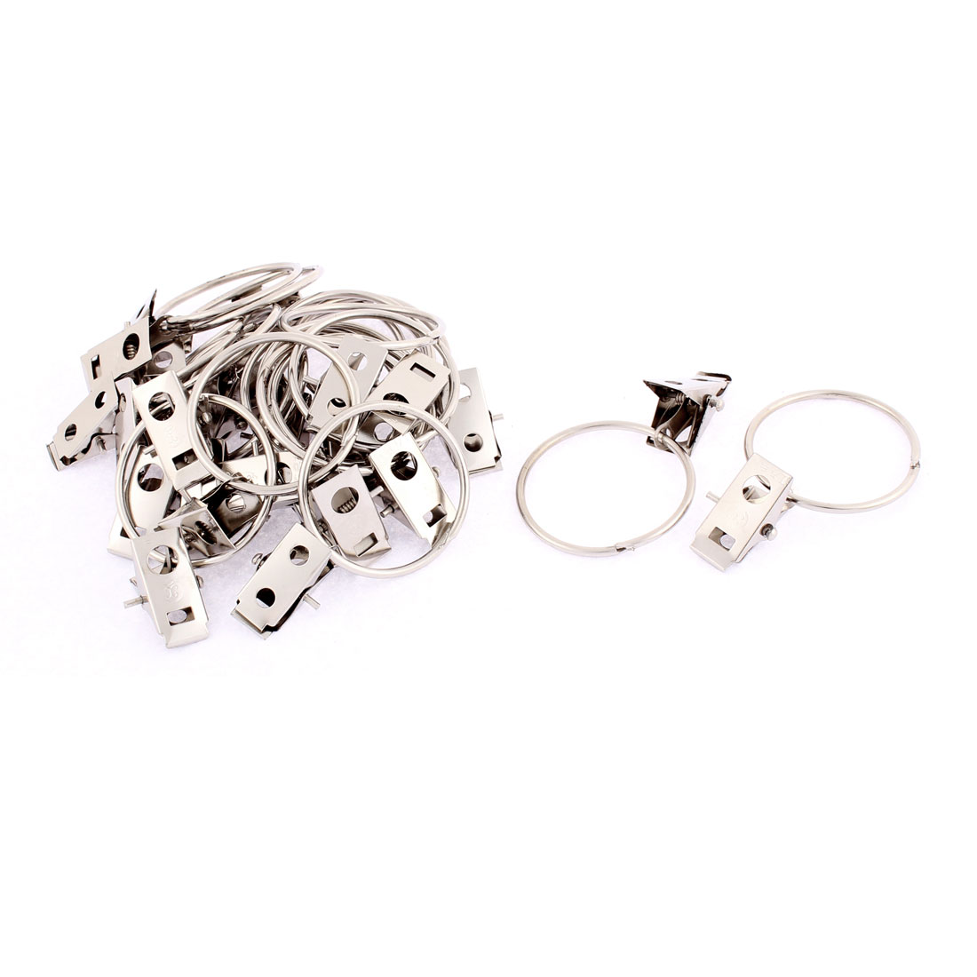 Home Stainless Steel Split Clip Ring Sprung Curtain Clips 24Pcs