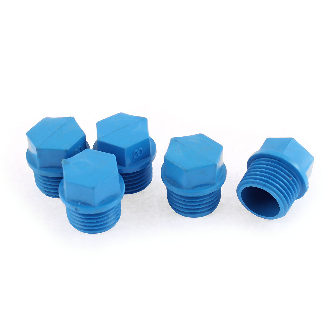 21mm Hex Head Dia 20mm Male Thread Water Pipe Connector 5PCS