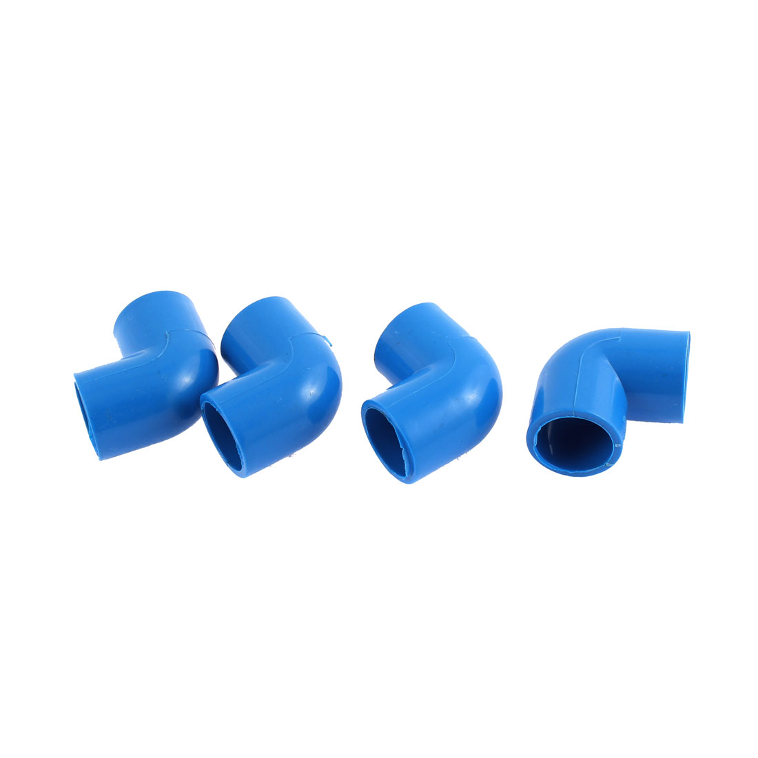 PVC Two Way L Shaped Water Pipe Hose Connector Blue 4PCS