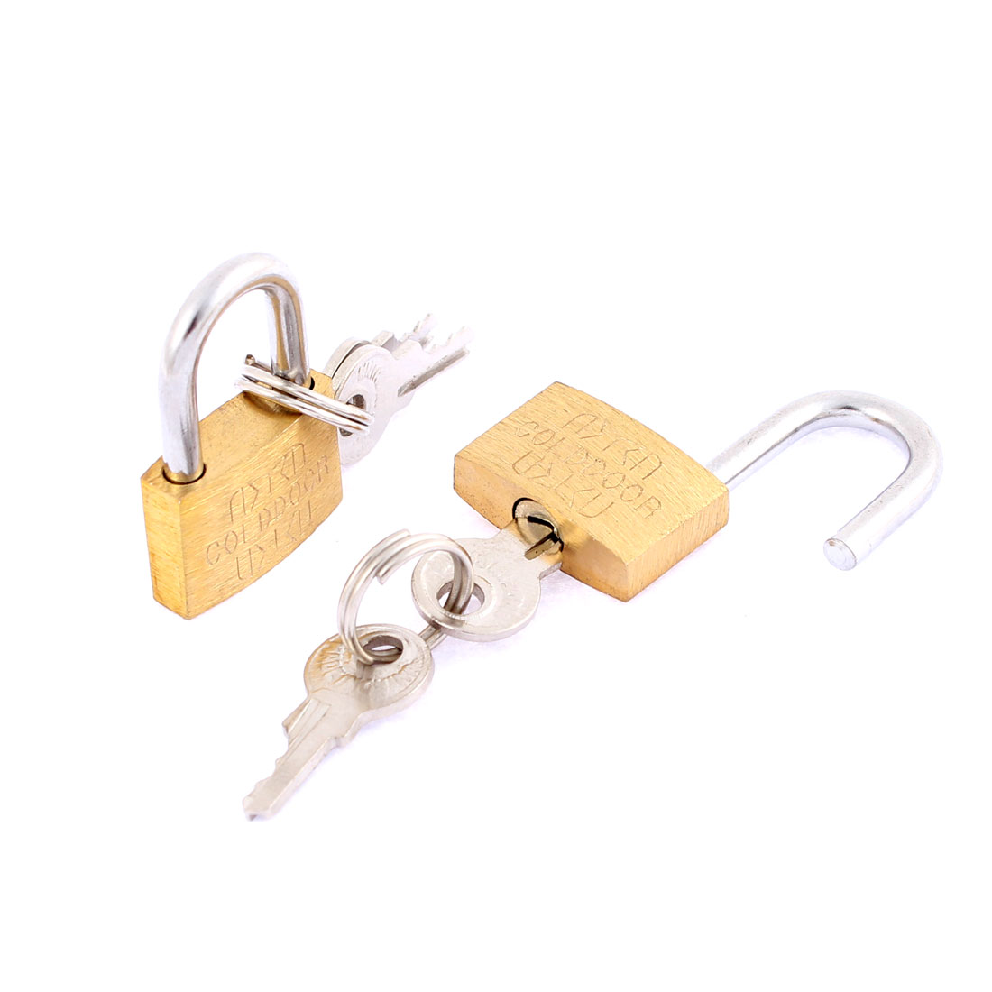 Luggage Jewelry Boxes Cabinet Security Padlock Locks Brass Tone 2pcs w Keys