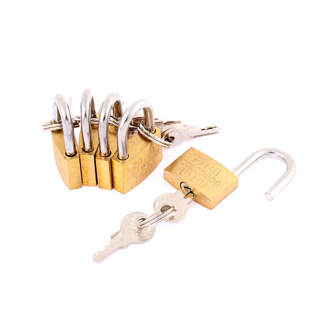 Cabinet Door Locking Security Padlock Lock Brass Tone 5pcs w Keys