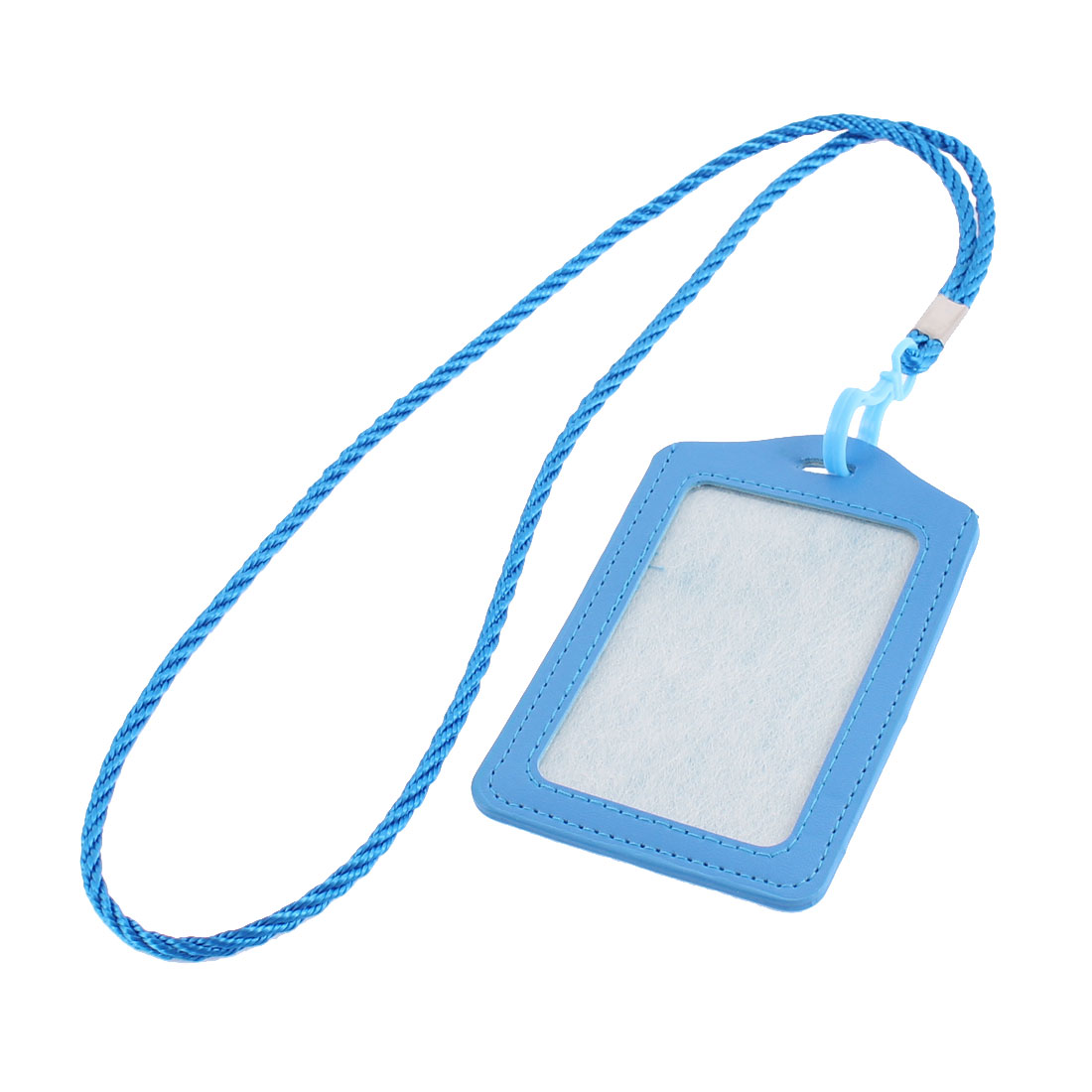 Faux Leather Vertical Design Office Business Badge Credit Card Holder Blue