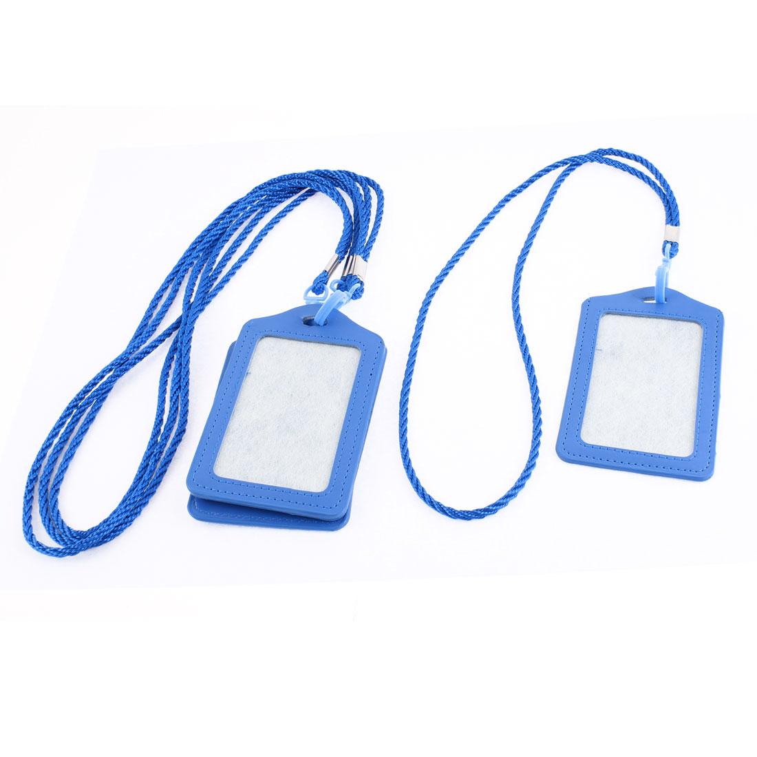 Faux Leather Vertical Design Office Business Badge Credit Card Holder Blue 4pcs