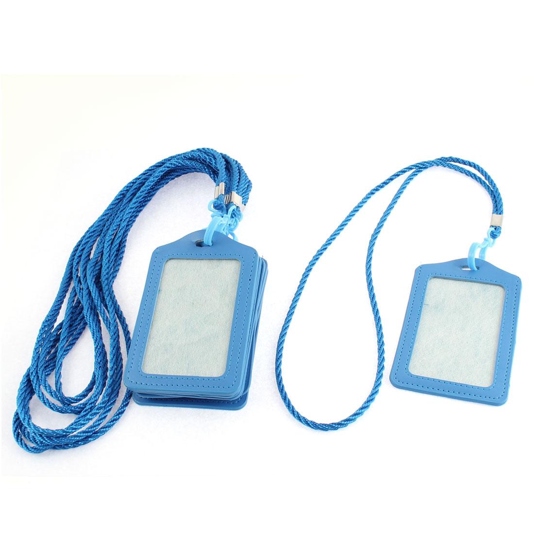 Faux Leather Vertical Design Office Business Badge Credit Card Holder Blue 8pcs