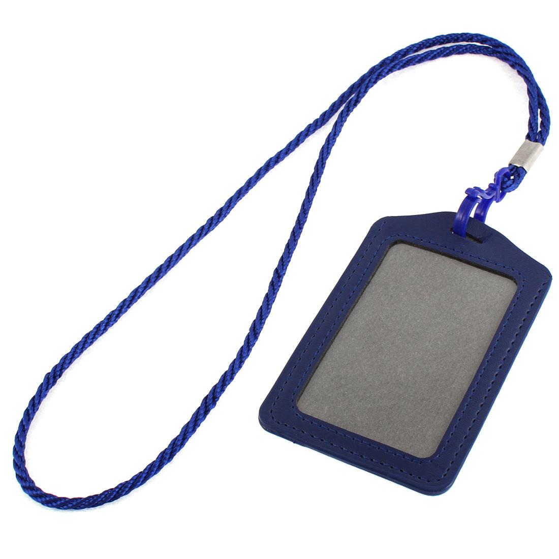 Office School Vertical Lanyard Name ID Card Tag Badge Holder Dark Blue