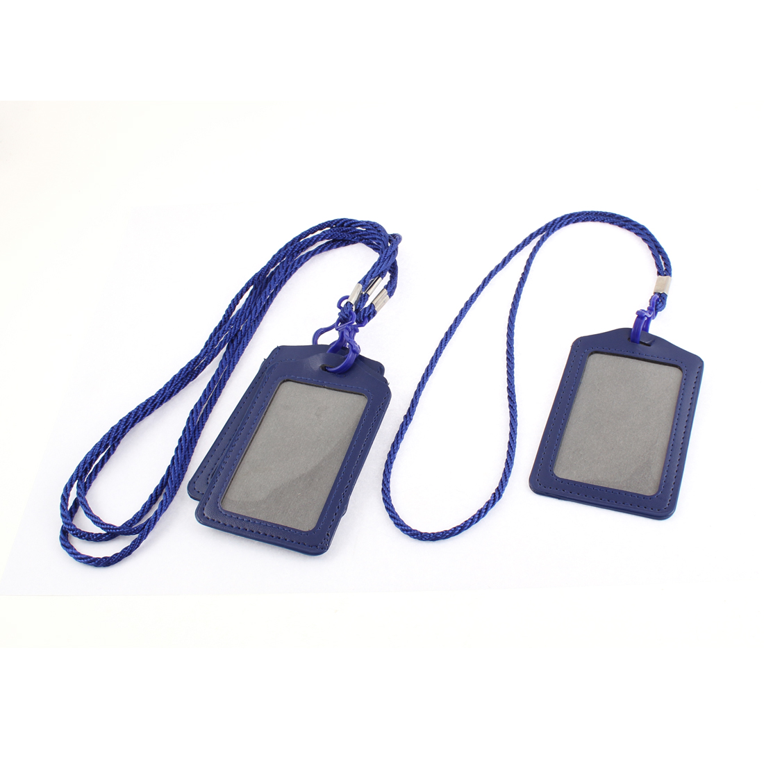 Office School Faux Leather Vertical Lanyard Name ID Card Tag Badge Holder 4pcs