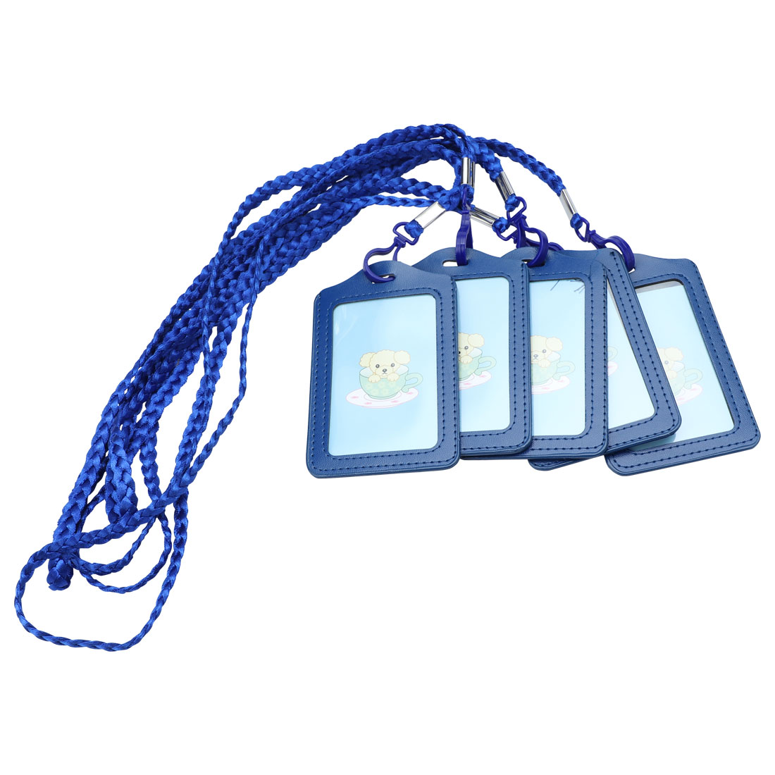 Office School Vertical Lanyard Name ID Card Tag Badge Holder Dark Blue 5pcs