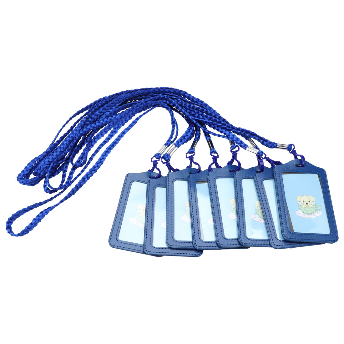 Office School Vertical Lanyard Name ID Card Tag Badge Holder Dark Blue 8pcs